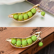 Gold Plated Metal Green Pea Unique Collar Pins Badge Corsage Brooch Jewelry SA