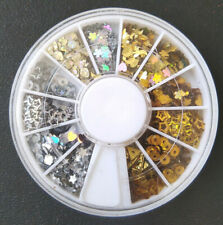 Nail Art Wheel Glitter Slice Decoration Crystals Silver Aurora Gold Bling AB