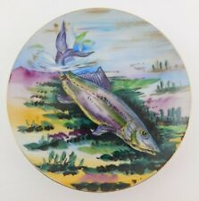 Vintage Hand Painted Swimming Fish Plate Hanging Decorative Dish Trout NE USA