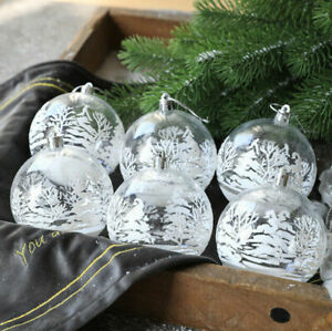 6pcs Traditional Clear Christmas White Snow Baubles Balls XMAS Tree Decoration
