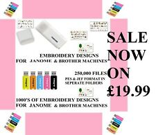 250,00 Embroidery Designs sur USB, Brother Babylock Janome, Y Compris Cadeau Gratuit