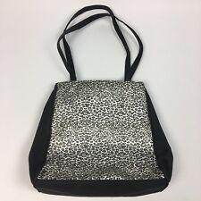 "Metallic Leopard Print Purse Shoulder Bag Vinyl Expandable Snap Closure 14""x 12"""