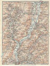 Carta geografica antica VALLE ADIGE da TRENTO a BOLZANO 1920 Old antique map