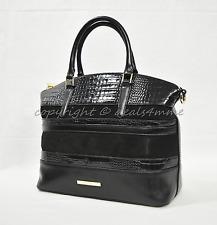 Brahmin Duxbury Satchel/Shoulder Bag in Black Maddox. Tri-Texture. Leather/Suede