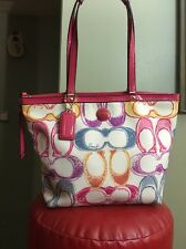 Coach Signature Scribble Print Multi Color Tote Purse Hand Bag F21894