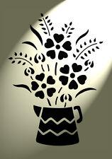 Shabby Chic Rustico Stencil Brocca Fiori Floreale Stile Vintage Muro a4 297x210mm