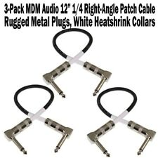 "3-Pack MDM Audio 12"" 1/4 Right Angle Patch Cable Instrument Guitar Cord 1 ft NEW"