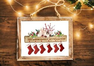 A4 Personalised Family Stocking Print Stocking Filler Gift  Christmas Decoration