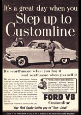 "1954 FORD CUSTOMLINE V8 AD A4 CANVAS PRINT POSTER 11.7""x8.3"""