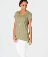 NEW PURE J. JILL S M L Scoop-neck Elliptical Tee Tunic Pima Cotton Sage Green
