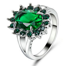 6.80/ct Lab diamond Green Emerald Wedding Ring 10KT white Gold Jewelry Size 6