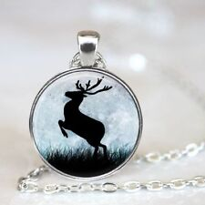 New deer Cabochon Tibetan silver Glass Chain Pendant Necklace Jewelry
