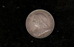 1896 BRITISH QUEEN VICTORIA VEILED HEAD SILVER CROWN COIN LX EDGE
