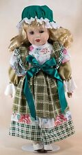 """Collector's 15.5"""" Porcelain Doll Blond Hair With Green Eyes Eyelashes"""