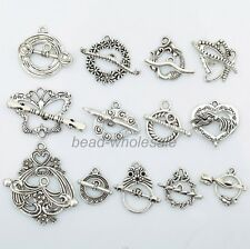13Sets Random Styles Tibetan Silver Heart Butterfly Toggle Clasps DIY Finding