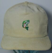 OLD VINTAGE 1980s BASS FISHING FISH CORDUROY ADJUSTABLE HAT CAP MADE IN THE  USA 148636e4ed6e