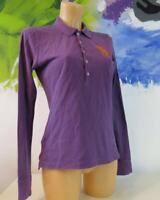 Classic Ralph Lauren purple ladies long sleeve cotton polo shirt size S
