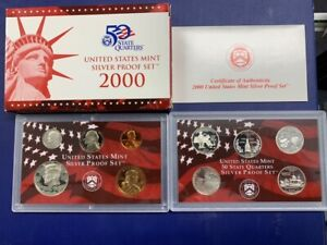 2000-S U.S. Silver Proof Set: Complete 10-Coin Set, with Box and COA   POSTPAID