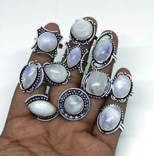 500 PCs Lot Natural AAA Rainbow Moonstone Gemstone Silver Plated Rings Jewelry