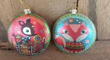 Red Fox  and Brown Deer Disk Glass Ornaments From Midwest-CBK
