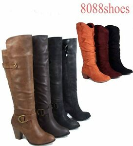 Womens Round Toe Low Heel  Mid Calf Knee High Boot Shoes Size 5.5 - 10 NEW