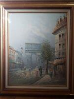 Vintage Caroline Burnett Paris Street Scene Large Oil Painting