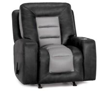 Black And Grey Oversized Reclining Chair With Cup Holder