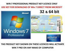 Win 7 Professional 32 / 64bit Product Key on Label DOWNLOAD WIN 7 FROM MICROSOFT