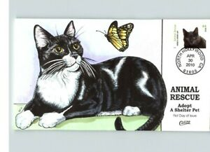 NICE! Set of 4 CATS, Hand Painted Animal Rescue, Adopt a Shelter Pet, 4 FDCS