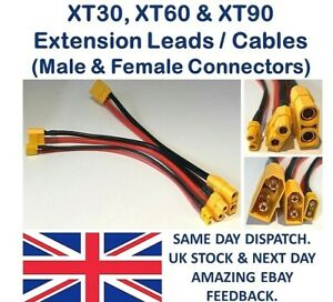 XT30 XT60 XT90 Connectors Extension Cables Lead-Charger Lipo Battery Wire RC UK