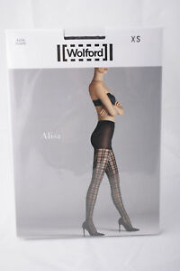 Wolford ~ ALISA ~ tights BNWT graphite grey XS XSmall 20 denier grid pattern