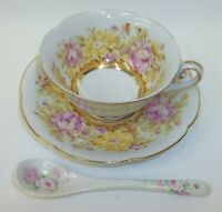 Vtg Jyoto Occupied Japan Teacup Saucer Set - Pastel Flowers  - Matching Spoon