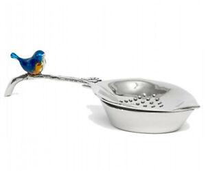 Blue Wren Bird Tea Strainer Set Silver Metal Boxed