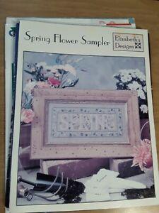 Vintage 2000 Elizabeth's Designs Spring Flower Sampler  Cross Stitch Charts