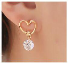 Stud Earrings Gold Heart Love Clear Diamante Rhinestone Women Girls Fashion UK