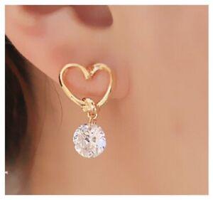 Heart Earrings Faux Cubic Zircon Crystal Drop Gold Ear  Post Stud Girl Gift