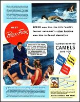 1940 Peter Fick world's fastest swimmer Camel cigs vintage photo Print Ad  ADL13