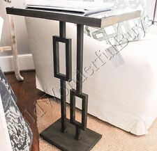 Geometric Pedestal Side Table Black 27H Iron Glass Top Furniture Sofa New