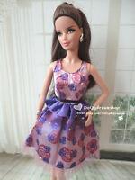 Doll Dress ~ 1PCS Mattel Barbie Elegant Purple Rose Print Gown dress #D-1719 NEW