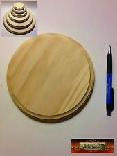 """M00505 Morezmore Unfinished 7"""" Round Wood Base Wooden Plaque Stand T20"""