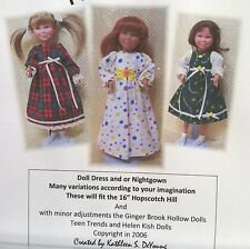 "Doll Dress and nightgown PATTERN for 16"" Hopscotch Hill American Girl Doll"