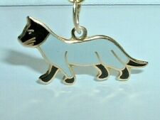 VINTAGE 14K YELLOW GOLD BLACK AND WHITE CAT PENDANT CHARM