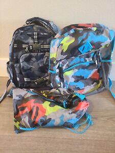 Pottery Barn Kids Mackenzie Backpack - Blue Camo w/two additional camo backpacks