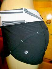 """Amazing LULULEMON Run Speed Shorts 2"""" Black Coal White Waist-Size 6 fits Medium"""