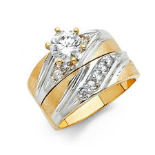 His Her Wedding Trio Set Ring Band Solid 14k Yellow White Real Gold Cz Solitaire