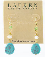 Ralph Lauren Gold Tone GREEN VALLEY Turquoise Pearl Bead Linear Drop Earrings