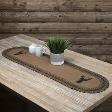 """VHC Brands Rustic 13""""x48"""" Deer Table Runner Tan Stenciled Kitchen Table Decor"""