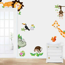 Animal Wall Stickers Monkey Tree Jungle Zoo Nursery Baby Kids Room Decal Art