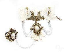 Sklavenarmband weiß Perlen Gothic Ring Ornament Damen Vintage Armband Armkette