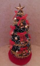 Dollhouse miniatures handcrafted Christmas tree w/gold bells,shinny balls & bows